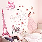 Iuhan Bonjour Paris wall sticker lovely sweet girl with rose mural Decor Bedroom Home sticker Wall
