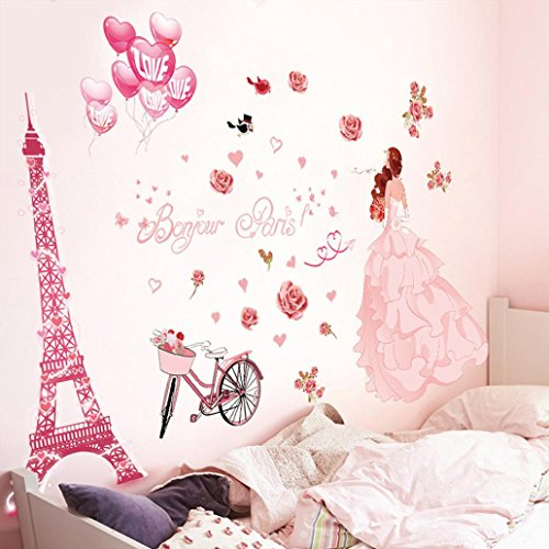 Cheap  Iuhan Bonjour Paris wall sticker lovely sweet girl with rose mural Decor..