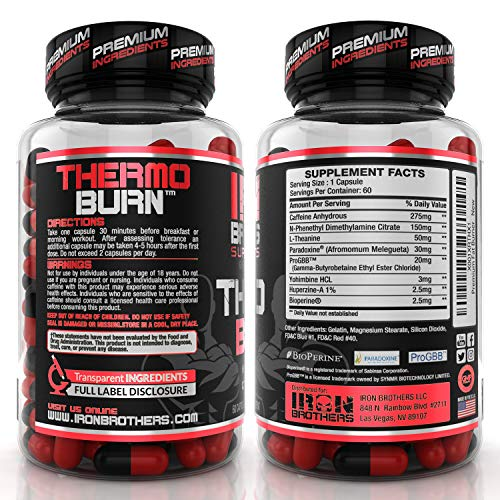Thermogenic Fat Burners for Men/Women - Hardcore Weight Loss Pills - Appetite Suppressant- Premium Metabolism/Energy Booster – 60 Gel Capsules - Keto Friendly - Iron Brothers Thermo Burn by Iron Brothers Supplements (Image #1)