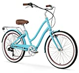 "sixthreezero EVRYjourney Women's 7-Speed Step-Through Hybrid Cruiser Bicycle, Teal w/Brown Seat/Grips, 26"" Wheels/ 17.5"" Frame"