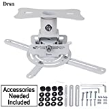 Drsn Universal Ceiling Projector Mount Bracket T717 Adjustable Projector Mount with Extendable Arms Compatible for Projectors Epson, BenQ, ViewSonic, Optoma White