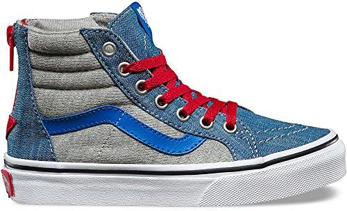 (Vans Sk8-Hi Zip Sneakers Jersey&Denim Boys 10.5)