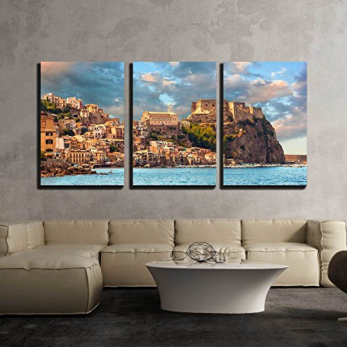 wall26 - 3 Piece Canvas Wall Art - Scilla, Castle on the Rock in Calabria During Sunset, Italy - Modern Home Decor Stretched and Framed Ready to Hang - 24