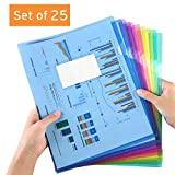 Sooez Clear Document Folders, 25 Pack Project Pockets Letter Size Plastic Document Folders with Label Pocket, US Paper Poly Jacket Sleeves Folders Transparent L-Type, Assorted Color