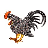 MOONQING Rooster Chicken Brooch Creative Colorful Rhinestone Brooch Animal Brooch Zodiac Animal Brooch,Gray