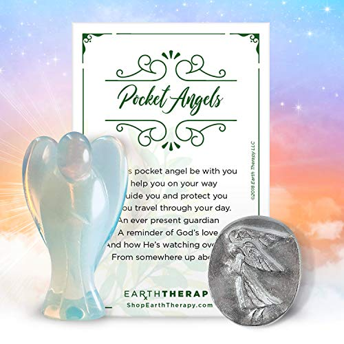 Earth Therapy Set Pocket Guardian Healing Pack of Opalite Figurine, Angel Token Coin, and Serenity Prayer Card, Opal & Coin