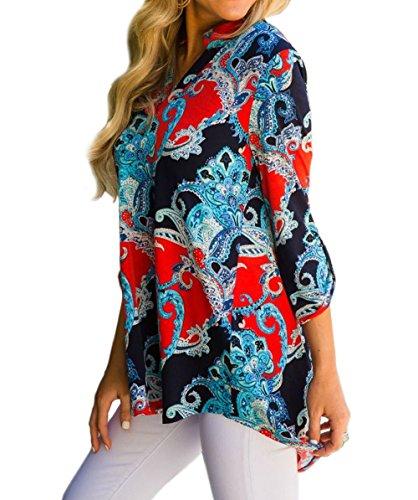 Imprim Shirts Femmes Manches Chemisiers Tunique T Shirts Longues et Hiver Rouge Hauts New Lache Tops Fashion Tees Blouse Automne trzr0