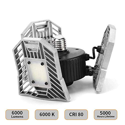 Light Braided Ceiling (60W Led Garage Lights,Garage Lighting 6000 LM, E26 Led Shop Lights for Garage, Garage Motion Light with 3 Adjustable Panels, Motion Activated Garage Ceiling Lights)