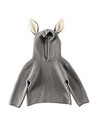 MNBS Kids Boys Girls Cute Baby Sweater Rabitt Warm Hood Pullover Sweater