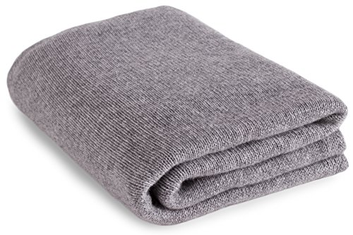 Gray 100% Cashmere - Luxurious 100% Cashmere Travel Wrap Blanket - Light Gray - handmade in Scotland by Love Cashmere RRP $660