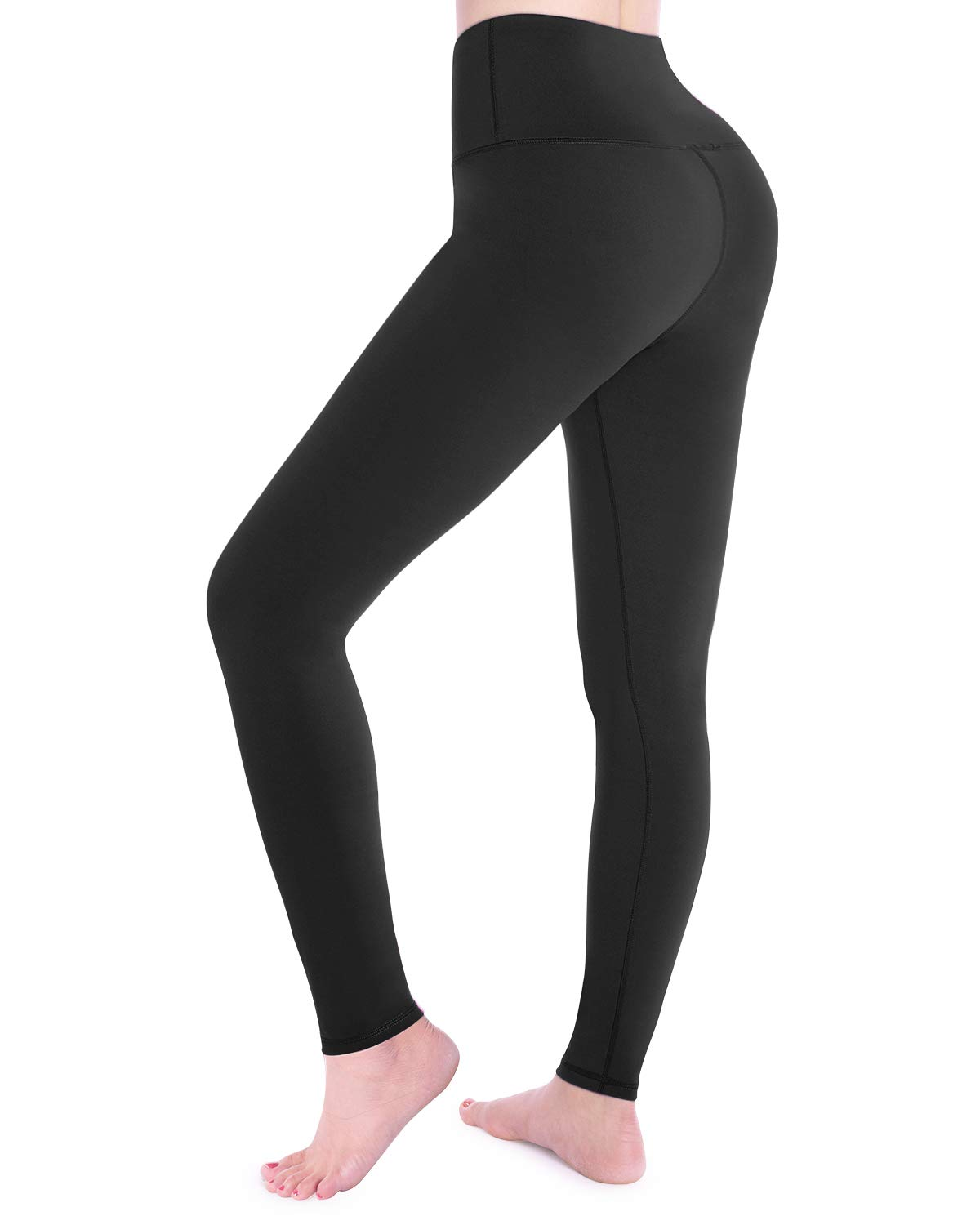 STYLEWORD Women's Leggings High Waist Yoga Pants Tummy Control Workout Running Elastic Tights(Black,S)