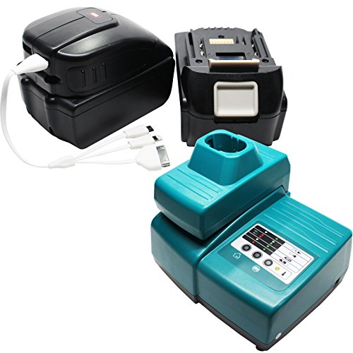 2 Replacement Makita BTD140 Battery, 1 Charger, 1 USB Power Source & Multiple USB Cable - For Makita 18V Lithium-Ion Power Tool Battery (3000mAh, Lithium-Ion)