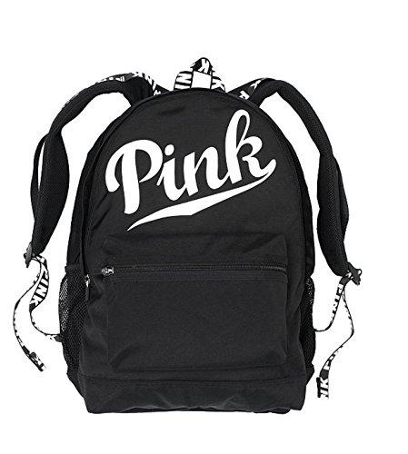 Victoria's Secret Pink Campus Backpack Black White Logo