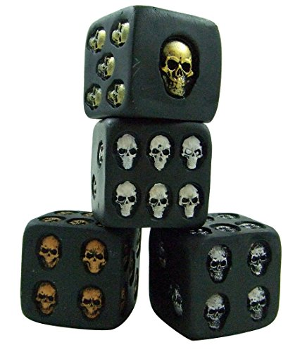 Set of 4 Different Color Large Skull Dice Scary Novelty Game Pieces Each Die Is 1 1/2 Inches Long Per Side (Skull Die)