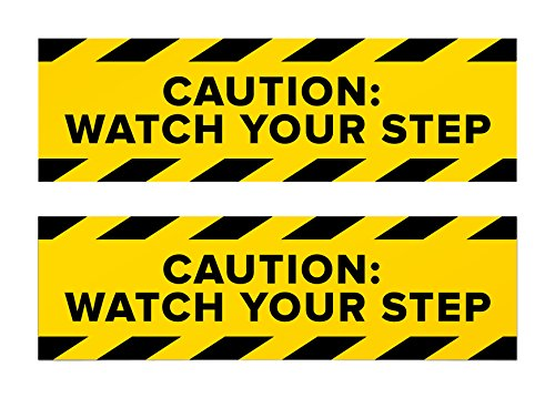 Caution Watch Your Step Sticker Signs | Bright Stickers for Workplace Safety, Caution, Wet Floor, and Other Situations Requiring Care (Pack of 2)