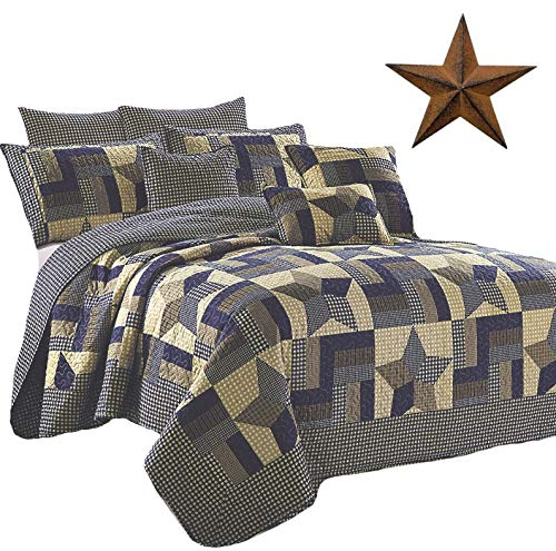 - Rustic Blue and Brown Farmhouse Primitive Woodland Star 3pc King Size Quilt Setm + BROWN BARN STAR