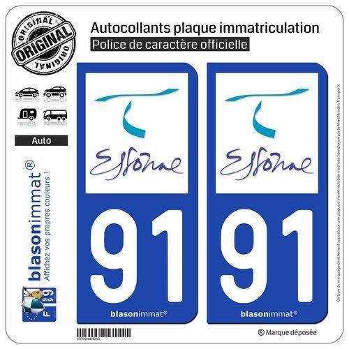 blasonimmat 2 Autocollants Plaque immatriculation Auto 91 Essonne Tourisme