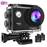 Crosstour Action Camera Full HD 1080P WiFi Underwater 40M with 2 Rechargeable 1050mAh Batteries and IP68 Waterproof Case for Vlog