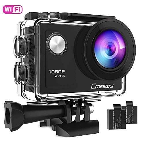 Crosstour Action Camera Full HD 1080P Wifi Underwater 40 Meters with 2 Rechargeable 1050mAh Batteries and IP68 Waterproof Case for Vlog