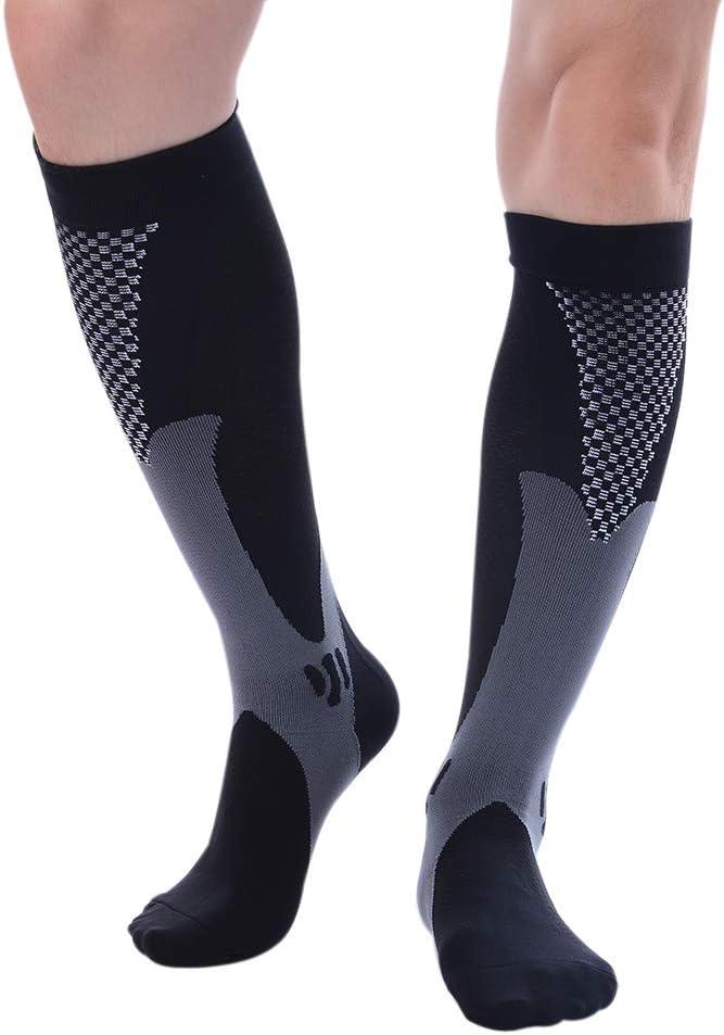 RoBlue calcetines larga hombre mujer de bicicleta deporte en plein air calcetines de compresi/ón m/ágico el/ásticas de nailon Negro xx-large