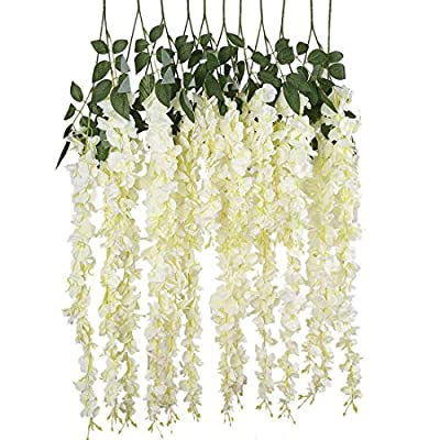 Finico 12 Pack Artificial Fake Wisteria Vine Hanging Garland String Home Party Wedding Decor (White, 3.6 Feet/Piece) - Natural-looking flowers, Full and soft petals,vivid realistic and lifelike,looked more natural and beautiful,perfect for wedding decoration,table arrangement or elegant home decoration,also suitable for outdoor. The wisteria flowers well made and vibrantly colored- looks and feel just like real flowers,Pure natural style,simple and elegant,Easy to wash and keep clean,Simple installation,beautiful wedding home party decoration Full and soft petals,Natural-looking; Available in all colors,beautiful wedding home party decoration. - living-room-decor, living-room, home-decor - 51dmoIJ%2Bt3L. SS400  -