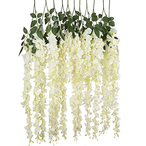 Finico 12 Pack Artificial Fake Wisteria Vine Hanging Garland string Home Party Wedding Decor (White, 3.6 Feet/Piece)