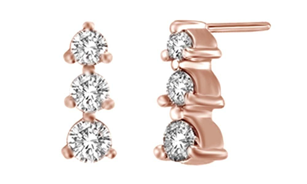 Weißszlig; natürlicher Diamant Drei Stein Ohrringe in Tropfenform 14 ct 585 Weißszlig; Gold massiv (0,5 Karat) 14 Karat RotGold