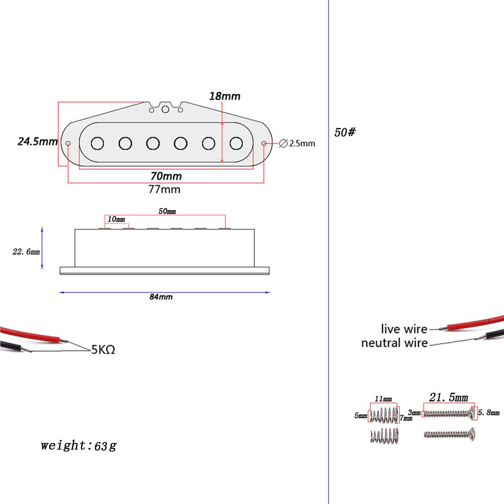Pastilla de Guitarra Guitarra Electrica Bobina Simple Sonido Pickup Transductor de Audio para Parte de Reemplazo de Guitarra ST,Negro