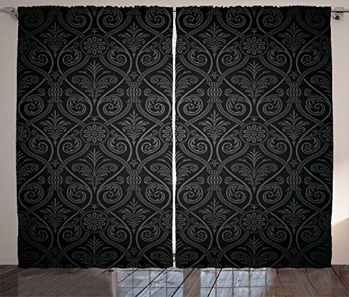 Ambesonne Damask Curtains, Antique Baroque Pattern with Mild Ombre Shade Gothic Victorian Style, Living Room Bedroom Window Drapes 2 Panel Set, 108