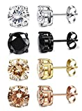 FIBO STEEL 4 Pairs Stainless Steel Round Stud Earrings for Men Women Ear Piercing Earrings Cubic Zirconia Inlaid,5MM