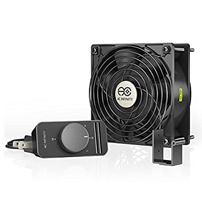 AC Infinity AXIAL S1238, 120mm Muffin Fan with Speed Controller, for Doorway, Room to Room, Wood Stove, Fireplace, Circulation Projects