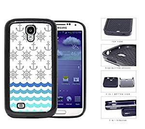 Ship Captain's Wheel And Anchor Pattern 2-Piece Dual Layer High Impact Rubber Silicone Cell Phone Case Samsung Galaxy S4 SIV I9500