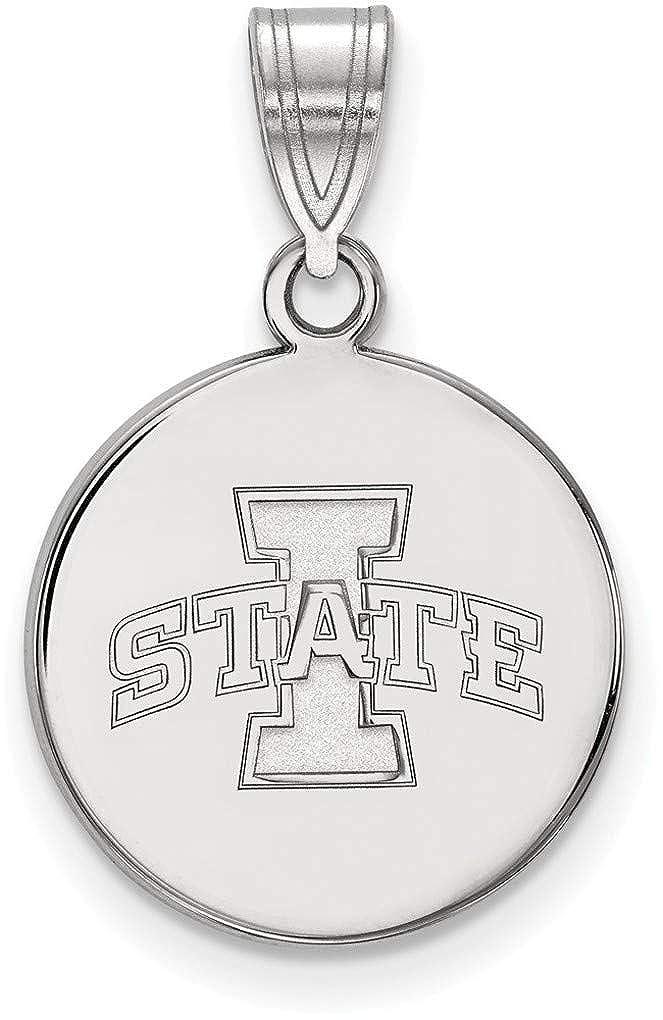 SS040IAS Sterling Silver Iowa State University Medium Disc Pendant by LogoArt