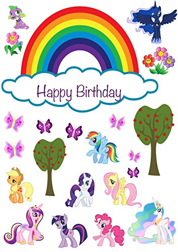 My Little Pony Happy Birthday Scene Edible Wafer Paper