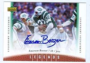 Autograph Warehouse 244287 Emerson Boozer Autographed Football Card 2006 Upper Deck Legends No. 37 - New York Jets Super Bowl
