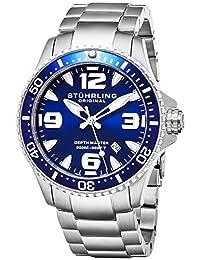 Stuhrling Original Ltd Edition Deep Blue Dial Mens Pro Dive Watch Swiss Quartz 200 Meter Water Resistant Unidirectional Ratcheting Bezel Solid Stainless Steel Bracelet Screw Down Crown Sport Watch Stuhrling Original