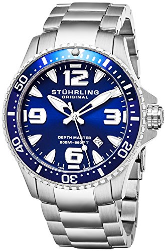 Stuhrling Original Mens Swiss Quartz Stainless Steel Professional Sport Dive Watch, Water-Resistant 200 Meters, Blue Dial, Easy-Adjustable Bracelet, Screw Down Crown 842 Series (Blue) by Stuhrling Original