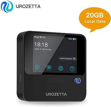 UROZETTA Mobile WiFi Hotspot con 20 GB España Data 4G Router WiFi portátil UZ-201 para Viajar al Extranjero Mifi Desbloqueado a Todas Las Redes: Amazon.es: Electrónica