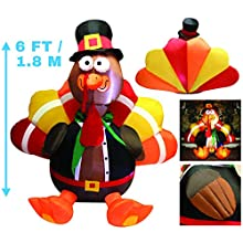 Joiedomi 6 Foot Thanksgiving Inflatable Turkey; LED Light Up Blow Up Turkey with Pilgrim Hat Perfect for Inflatable Thanksgiving Autumn Decorations