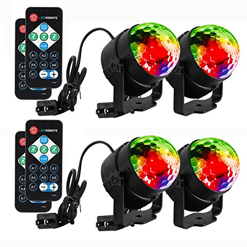 LUNSY Sound Activated Party Lights with Remote Control Dj Lighting, RBG Disco Ball Light, Strobe Lamp 7 Modes Stage Par Light for Home Room Dance Parties Bar Xmas Wedding Show Club -