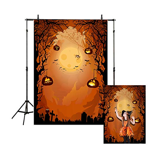 Allenjoy 5x7ft Halloween Themed Photography Backdrop yellow moon background Pumpkin Hanging on Some Black Gloomy Branches Photo Studio Booth Photographer Props