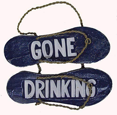 Hand Carved FLIP Flop Gone Drinking Sign Towels Beach Surfboard Wooden Wall Hanging Art Tiki Bar