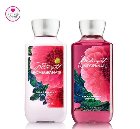 Bath and Body Works Signature Classics Pleasures Collection Body Lotion and Shower Gel Gift Set Men or Women (Midnight Pomegranate)