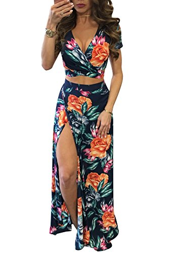 Two Piece Skirt - Gobought Womens 2 Piece Outfits Summer Floral Beach Crop and Side Slit Skirt