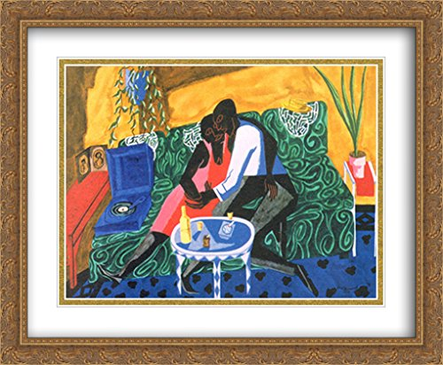The Lovers, 1946 2X Matted 28x36 Large Gold Ornate Framed Art Print by Jacob Lawrence