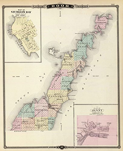 Wisconsin Antique Map (State Atlas | 1878 Maps of Door County, Sturgeon Bay and Jenny, State of Wisconsin. | Historic Antique Vintage Reprint)