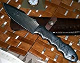 BC 19 Custom Handmade Damascus Steel Full Tang Knife- Ideal for Camping or Bushcraft For Sale