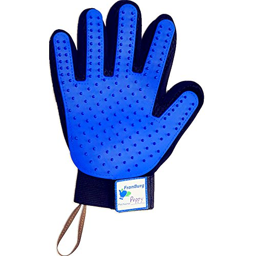 Franburg Upgraded Pet Grooming Glove & Hair Remover – Pet Name writable – Trimmed corners - Hanging loop- Comfort livestock comb/horses/cats/dogs -Bathing brush- long & short hair pet comb(RIGHT HAND)