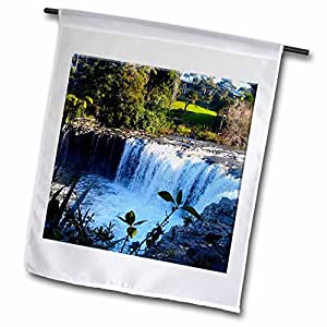 Jos Fauxtographee Realistic - Hururu Falls in New Zealand Beautiful With Blue Water Running Over Rocks and Plants on Edge - 12 x 18 inch Garden Flag (fl_49548_1)