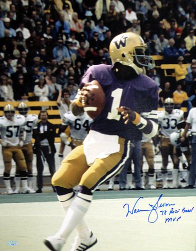 Warren Moon Signed 16x20 Photo Washington Huskies 78 Rose Bowl MVP - Authentication Authentic Autograph - Football Collectible from Sports Collectibles Online